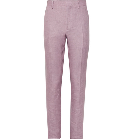 Burberry Pink Slim-fit Linen Suit Trousers In Pastel Pink