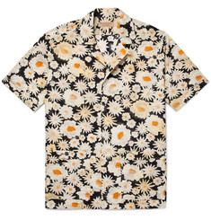 Burberry Camp-Collar Daisy-Print Cotton-Poplin Shirt