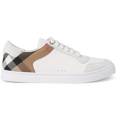 Burberry Leather, Suede and Checked Canvas Sneakers