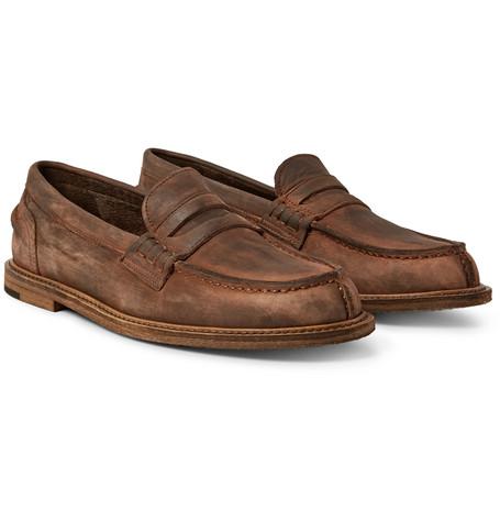 Split-toe Distressed Suede Penny Loafers - BrownHENDER SCHEME VizwHDRYV
