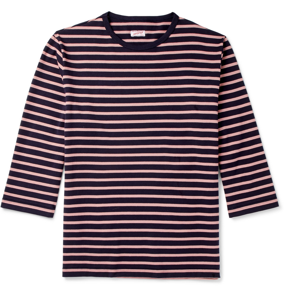 Brehat Striped Cotton-jersey T-shirt - Navy