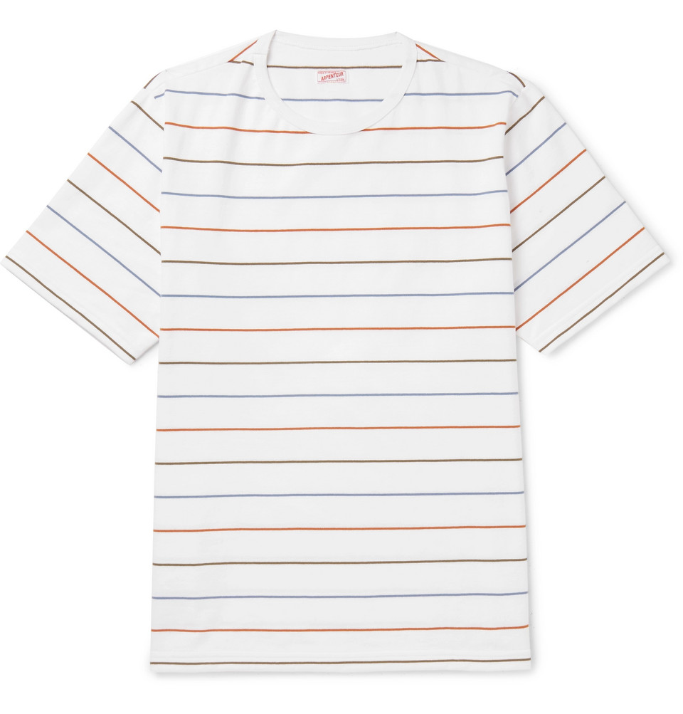 Oversized Striped Cotton T-shirt - White