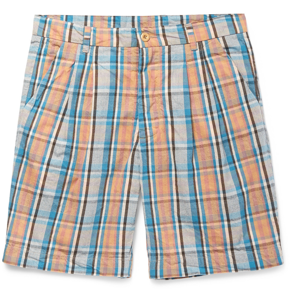 Checked Cotton-broadcloth Shorts - Multi