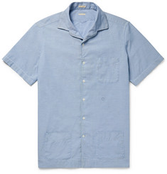 Massimo Alba Camp-Collar Watercolour-Dyed Cotton-Chambray Shirt
