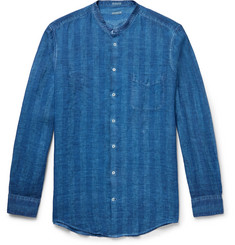 Massimo Alba Slim-Fit Grandad-Collar Watercolour-Dyed Striped Linen Shirt