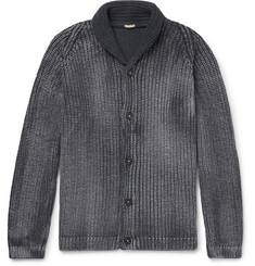 Massimo Alba Shawl-Collar Garment-Dyed Ribbed Cotton Cardigan