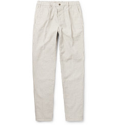 Incotex Slim-Fit Tapered Striped Cotton and Linen-Blend Trousers