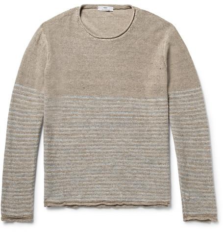 Striped Slub Linen Sweater - Beige