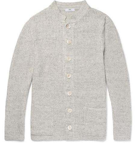 Ribbed Linen Cardigan - Gray
