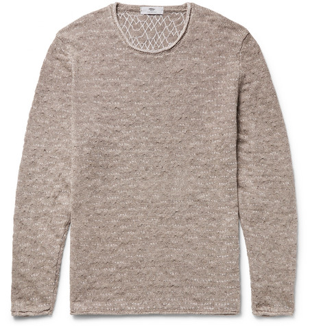Wave-stitch Mélange Linen Sweater - Mushroom
