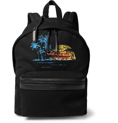 City Leather-trimmed Printed Canvas Backpack - Black