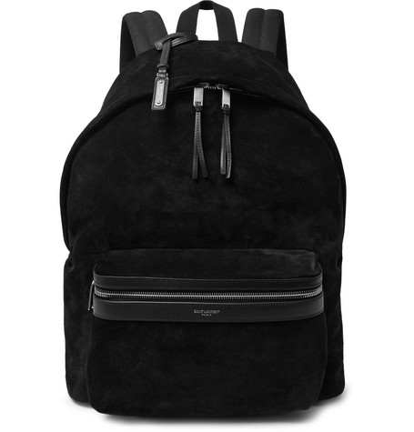 City Leather Trimmed Suede And Canvas Backpack by Saint Laurent