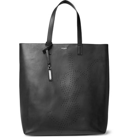 Saint Laurent Laser-cut Leather Tote Bag In Black