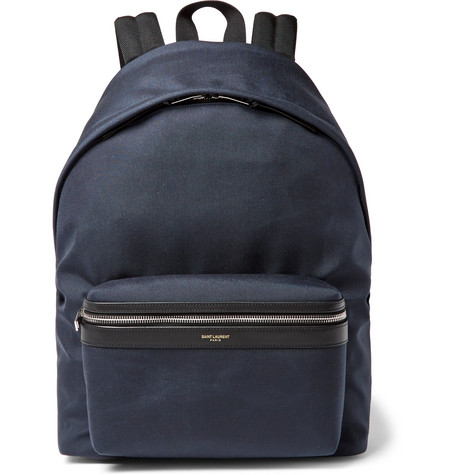 City Leather-trimmed Canvas Backpack - Navy