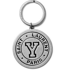 Saint Laurent Enamelled Silver-Tone Key Fob