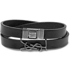 Saint Laurent - YSL Bunished Leather Silver-Tone Wrap Bracelet