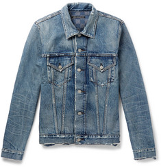 Fabric-Brand & Co Sashiko-Stitched Distressed Denim Jacket
