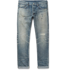 Fabric-Brand & Co - Slim-Fit Distressed Selvedge Denim Jeans