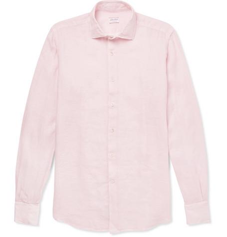 de608e6dbc9b Incotex Slim-Fit Linen Shirt - Pink