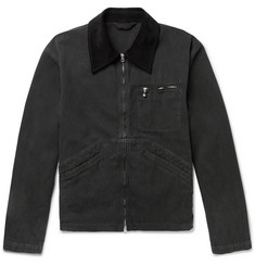 Acne Studios Marlon Corduroy-Trimmed Garment-Dyed Denim Jacket