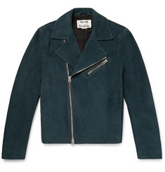 Acne Studios Axl Leather-Panelled Suede Biker Jacket