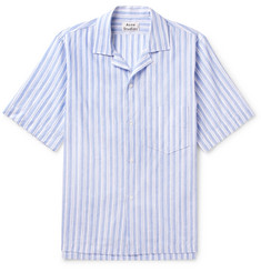 Acne Studios Elms Camp-Collar Striped Linen and Cotton-Blend Chambray Shirt