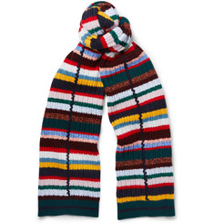 Burberry Striped Ribbed Wool-Blend Scarf