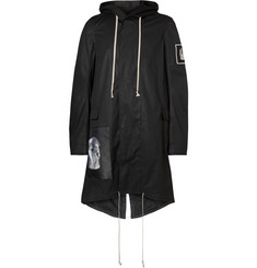 Rick Owens Oversized Appliquéd Stretch-Cotton Canvas Fishtail Parka