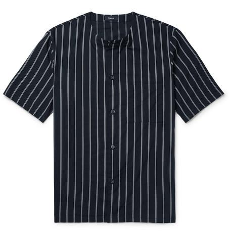 Theory Carmin Rope Stripe Short Sleeve Shirt In Midnight Blue
