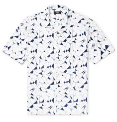 Theory Daze Camp-Collar Printed Cotton-Poplin Shirt