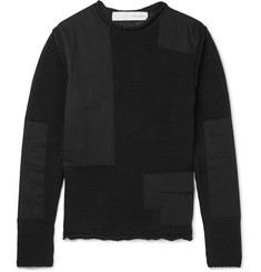 Isabel Benenato Shell-Paneled Cotton-Blend Sweater