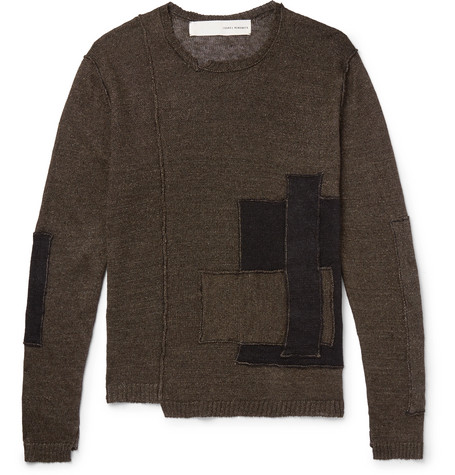 Patchwork Distressed Linen Sweater - Gray