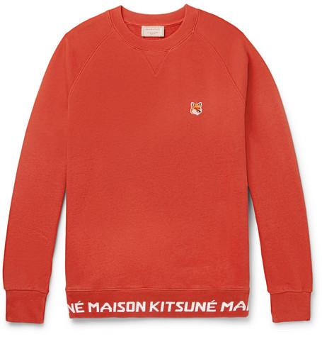 Maison KitsunÉ AppliquÉD Loopback Cotton-Jersey Sweatshirt In Orange