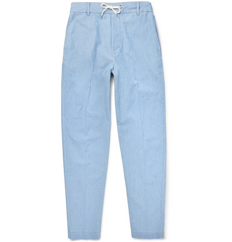 Cotton-chambray Drawstring Trousers - Blue
