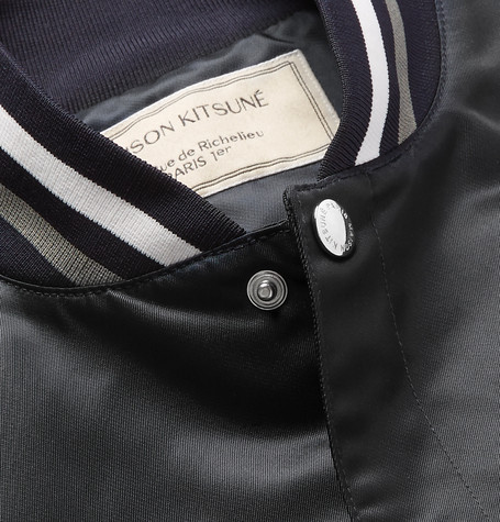 Slim Fit Appliquéd Satin Bomber Jacket by Maison Kitsuné