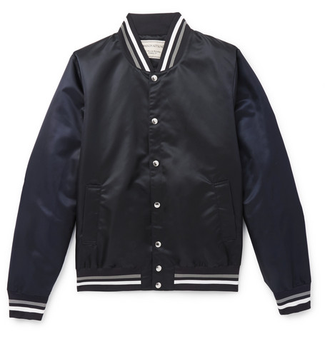 Slim-fit Appliquéd Satin Bomber Jacket - Midnight blue