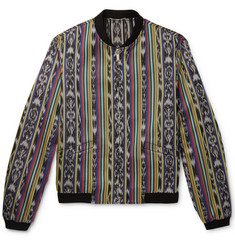 Saint Laurent Reversible Ikat Cotton and Silk-Blend Jacquard Bomber Jacket
