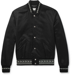 Saint Laurent - Embroidered Gabardine Bomber Jacket