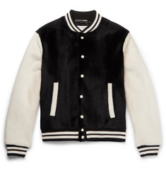 Saint Laurent Slim-Fit Two-Tone Shearling Bomber Jacket
