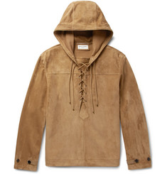 Saint Laurent Lace-Up Suede Hooded Jacket