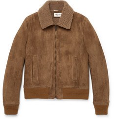 Saint Laurent Slim-Fit Shearling-Lined Suede Jacket