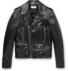 Saint Laurent Slim-Fit Burnished-Leather Biker Jacket