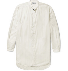 Saint Laurent Grandad-Collar Fil Coupé Cotton Shirt
