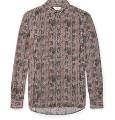 Saint Laurent Grandad-Collar Printed Silk Crepe de Chine Shirt