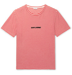 Saint Laurent - Flocked Striped Cotton-Jersey T-Shirt
