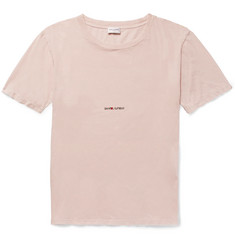 Saint Laurent - Distressed Printed Cotton-Jersey T-Shirt