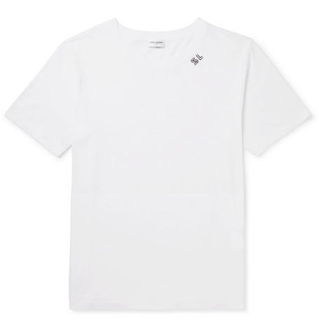 SAINT LAURENT Printed Cotton-Jersey T-Shirt, White