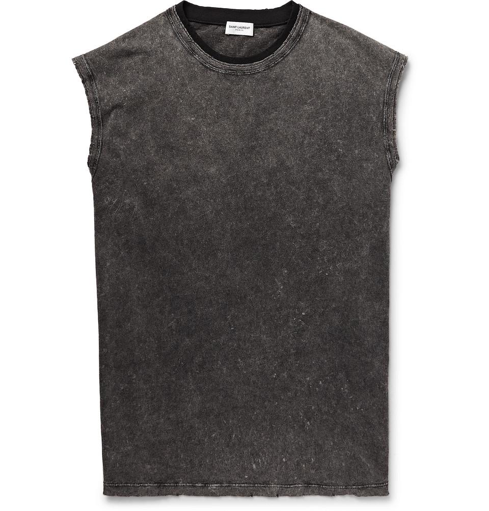 Slim-fit Acid-washed Cotton-jersey Tank Top - Dark gray