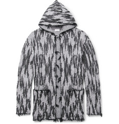 Saint Laurent Ikat-Woven Hooded Cardigan