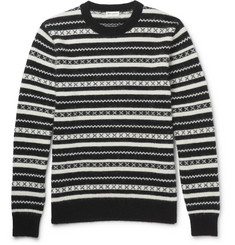Saint Laurent Fair Isle Jacquard-Knit Mohair-Blend Sweater